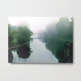 River Bridge in the Mist Metal Print
