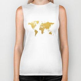 World Map Gold Foil Biker Tank