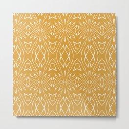 Geometric Art, Aztec Prints, Mustard Yellow, Wall Art Boho Metal Print