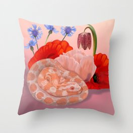 Snek and Poppies Throw Pillow
