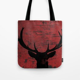 Industrial Deer Animal on Red Rust A313 Tote Bag