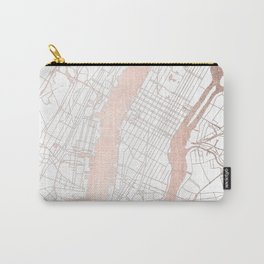 New York City White on Rosegold Street Map Carry-All Pouch