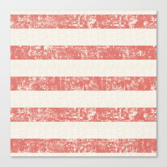 Maritime Beach Pattern- Red and White Stripes- Horizontal- Canvas Print