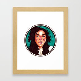 Woman with curls Framed Art Print