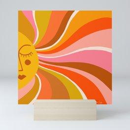 Sunshine Swirl – Retro Ochre Mini Art Print