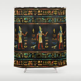 Egyptian  Gold, Teal and Red  glass pattern Shower Curtain