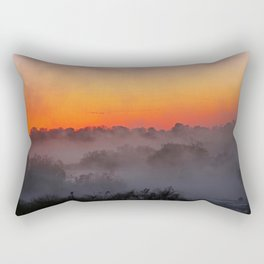 Sunrise with fog at an African river Rectangular Pillow
