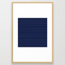Navy Blue Pinstripe Lines Framed Art Print