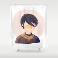 arya Shower Curtains featuring There Is Only One Thing We Say To Death by Nan Lawson