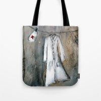 nurse Tote Bags featuring nurse by woman