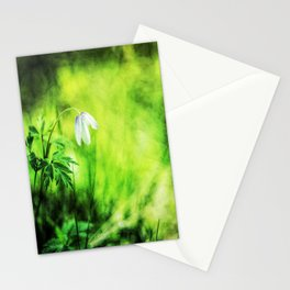 A white wood anemone flower in green Stationery Cards