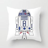 r2d2 Throw Pillows featuring R2D2 by Gyunjoo Kim