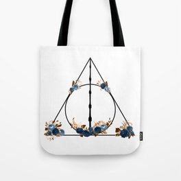 Deathly Hallows in Blue and Brown Tote Bag