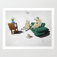 sheep Art Prints featuring Sheep by rob art   illustration