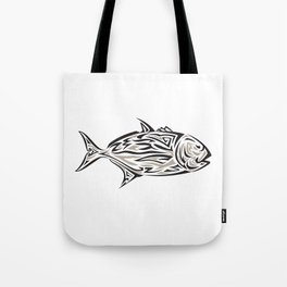 Giant Trevally Side Isolated Tribal Art Tote Bag