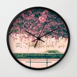 Paris, cherry blossom garden Wall Clock