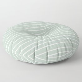 Festive, Colorful Stripes, Green and White, Minimal Art Floor Pillow