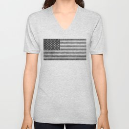 US flag - retro style in grayscale Unisex V-Neck