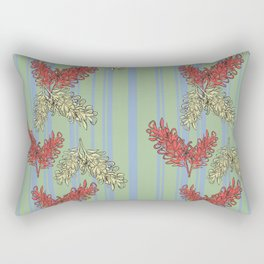 Striped Australian Floral Print Rectangular Pillow