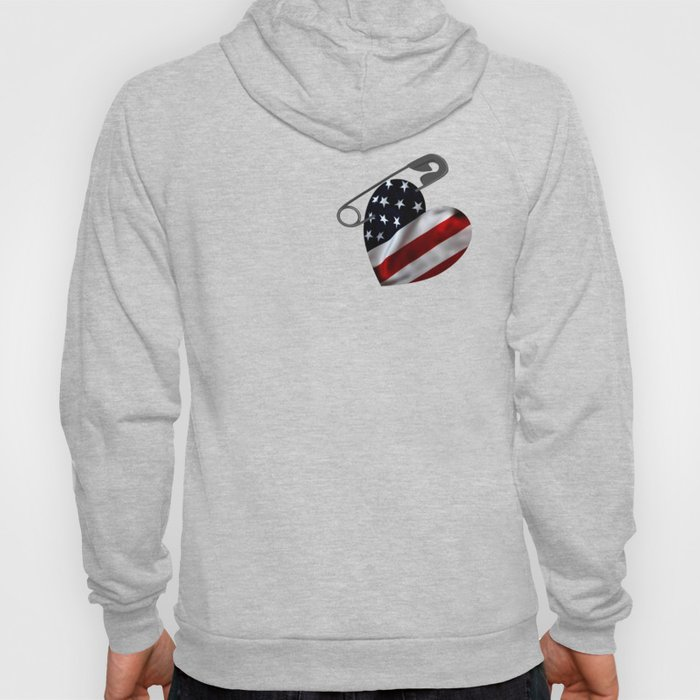 American Flag Heart Safety Pin Hoody