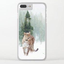 Leopard Running on Snow Clear iPhone Case
