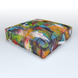 """The Abstract Mediterranean"" Acrylic Painting by Noora Elkoussy Outdoor Floor Cushion"