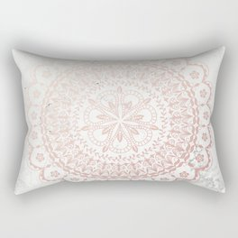 Rose gold mandala and grey marble Rectangular Pillow