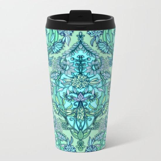 Botanical Moroccan Doodle Pattern in Mint Green, Lilac & Aqua Metal Travel Mug