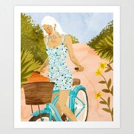 Biking In The Woods #illustration #painting Art Print