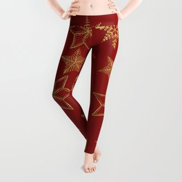 Snowflakes Red And Gold Leggings