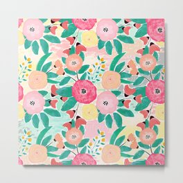 Modern brush paint abstract floral paint Metal Print