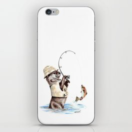 """"""" Natures Fisherman """" fishing river otter with trout iPhone Skin"""