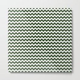 Dark Forest Green and White Chevron Stripe Pattern Metal Print