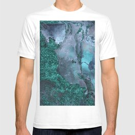 Malachite Glitter Stone and Ink Abstract Gem Glamour Marble T-shirt