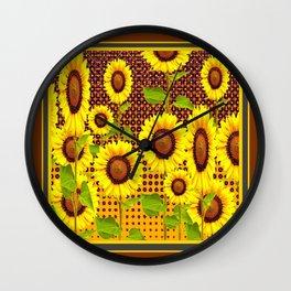 COFFEE BROWN SUNFLOWERS CABIN ART Wall Clock