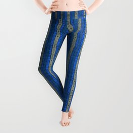 Stripes and Dots, Striped Pattern, Crerulean Denim  Leggings