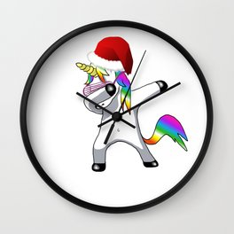Christimas version of the dab unicorn Wall Clock