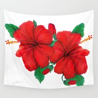hibiscus Wall Tapestries featuring Hibiscus  by Thom Lupari
