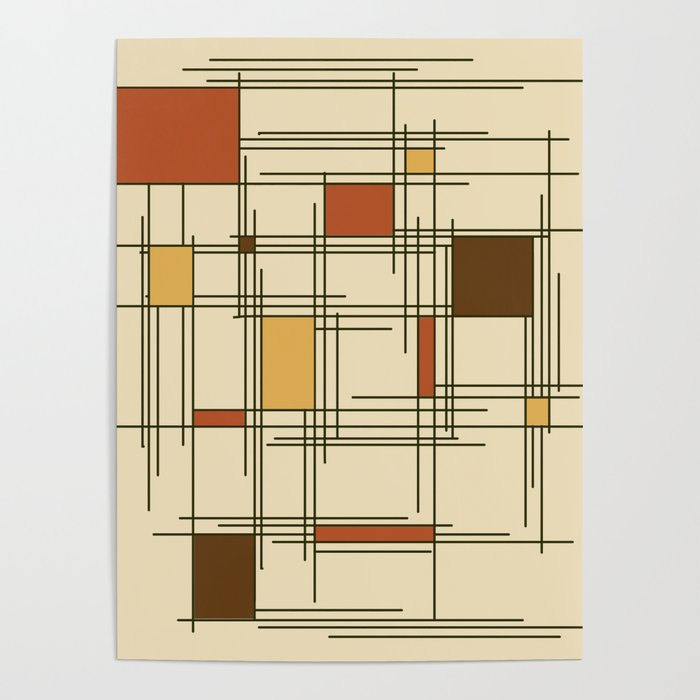 1940s Abstract Art Lines Poster By Zennykenny