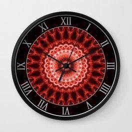 Mandala in deep red tones Wall Clock