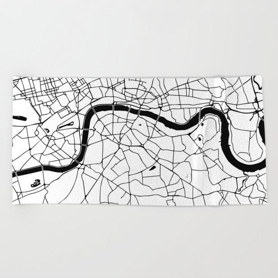 London Minimal Map Beach Towel