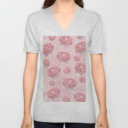 Watercolour red peonies flowery pattern Unisex V-Neck