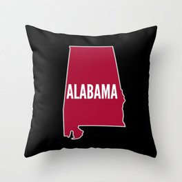 Alabama State Map on Black Gifts Throw Pillow