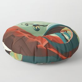 SpaceX Mars tourism poster / Olympus Mons Floor Pillow