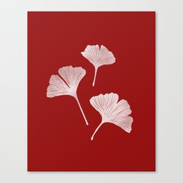 Ginkgo Biloba | Fiery Red Background Canvas Print