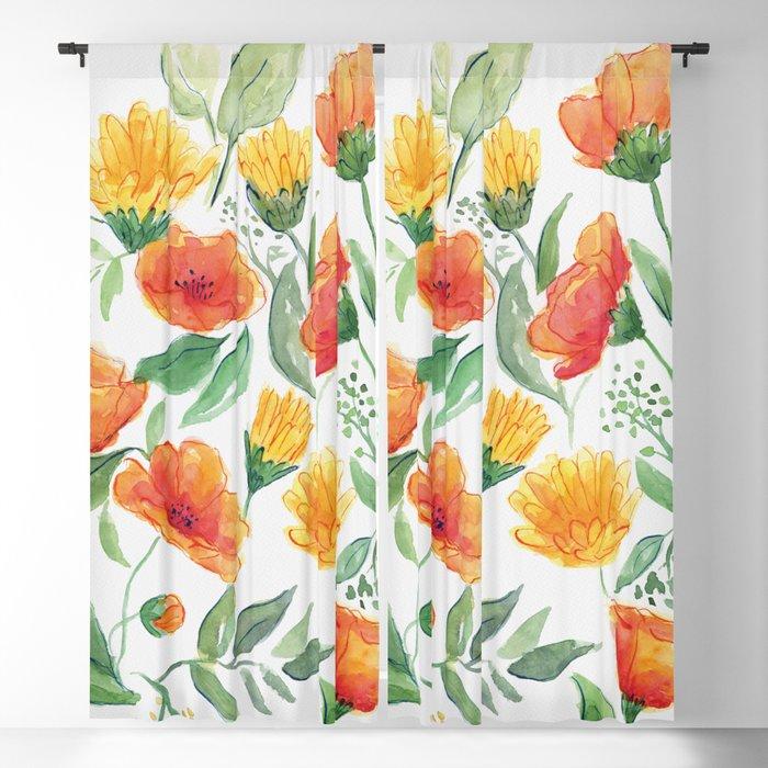 Spring Wildflowers Blackout Curtain