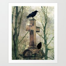 Two Graveyard Crows Art Print