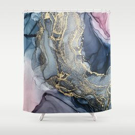 Blush, Payne's Gray and Gold Metallic Abstract Shower Curtain