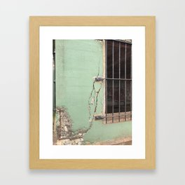 Cracked concrete wall at Battery Mendell on Fort Barry Framed Art Print