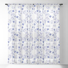 Floral round wreaths of blue color Sheer Curtain